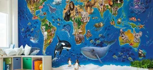 Fototapete Vlies Karte der Welt Tapete Fototapeten Fürs Kinderzimmer FDB100