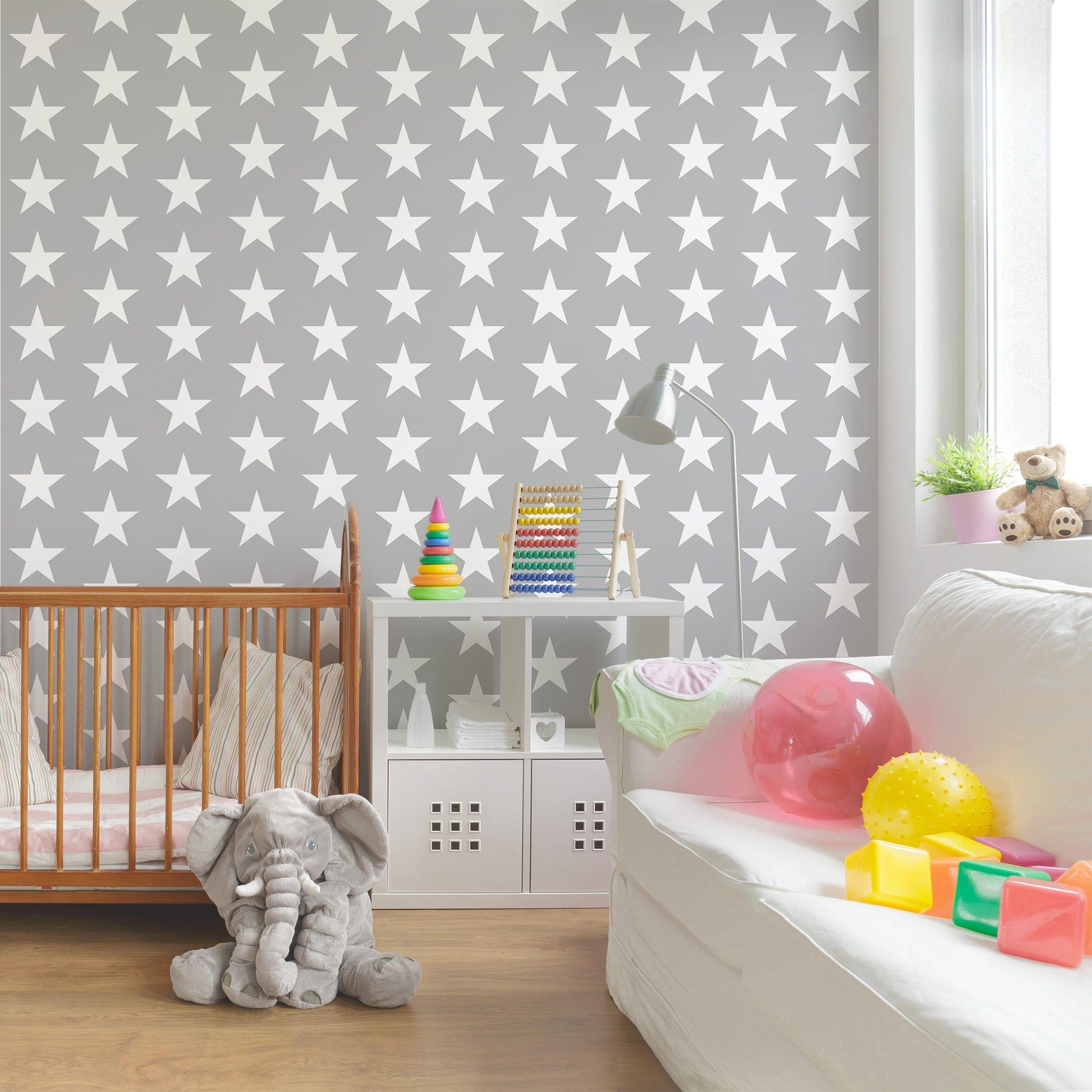 Kinderzimmer Tapeten - Vliestapeten Premium - Weiße Sterne auf grauen Hintergrun  eBay