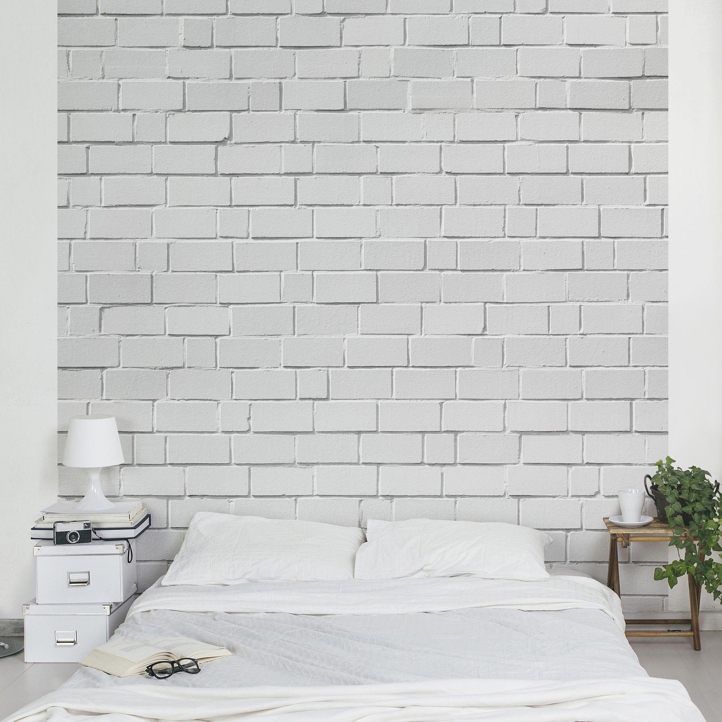 backstein tapete wei white stonewall vlies fototapete quadrat. Black Bedroom Furniture Sets. Home Design Ideas