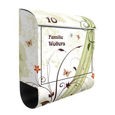 Briefkasten mit eigenem Text & Hausnummer - Frühlingszeit - Wandbriefkasten