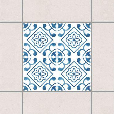 Fliesenaufkleber - Blau Weiß Muster Serie No.2
