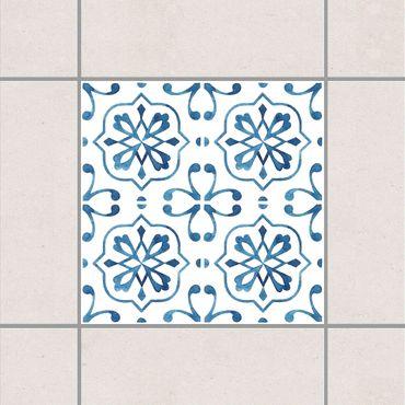 Fliesenaufkleber - Blau Weiß Muster Serie No.4