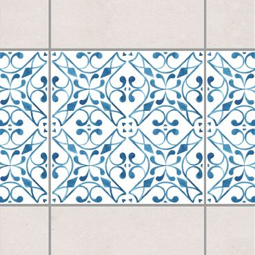 Fliesen Bordüre - Blau Weiß Muster Serie No.3 1:1 Quadrat 10cm x 10cm - Fliesenaufkleber
