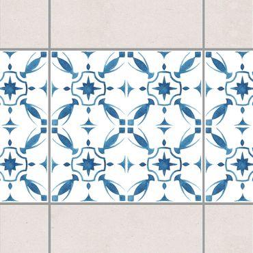 Fliesen Bordüre - Blau Weiß Muster Serie No.1 1:1 Quadrat 15cm x 15cm - Fliesenaufkleber