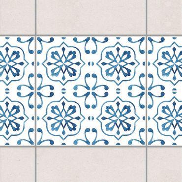 Fliesen Bordüre - Blau Weiß Muster Serie No.4 1:1 Quadrat 15cm x 15cm - Fliesenaufkleber