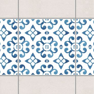 Fliesen Bordüre - Blau Weiß Muster Serie No.5 1:1 Quadrat 15cm x 15cm - Fliesenaufkleber
