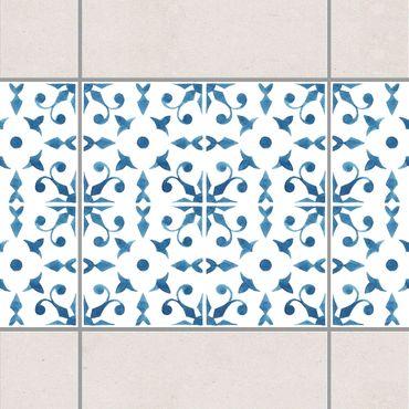 Fliesen Bordüre - Blau Weiß Muster Serie No.6 1:1 Quadrat 15cm x 15cm - Fliesenaufkleber