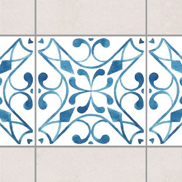 Fliesen Bordüre - Muster Blau Weiß Serie No.3 1:1 Quadrat 15cm x 15cm - Fliesenaufkleber