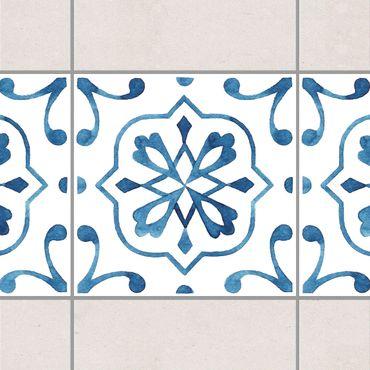Fliesen Bordüre - Muster Blau Weiß Serie No.4 1:1 Quadrat 15cm x 15cm - Fliesenaufkleber