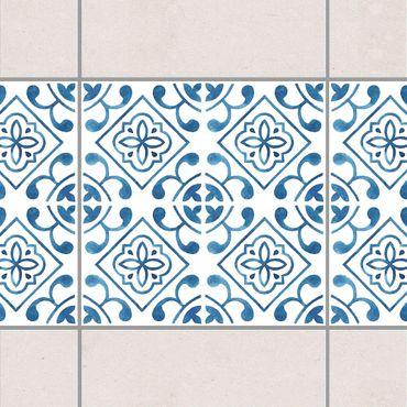Fliesen Bordüre - Blau Weiß Muster Serie No.2 1:1 Quadrat 20cm x 20cm - Fliesenaufkleber