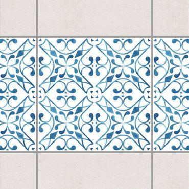 Fliesen Bordüre - Blau Weiß Muster Serie No.3 1:1 Quadrat 20cm x 20cm - Fliesenaufkleber