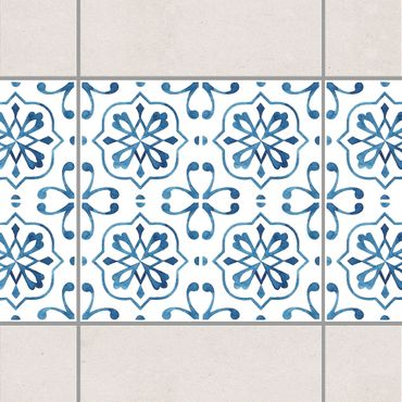 Fliesen Bordüre - Blau Weiß Muster Serie No.4 1:1 Quadrat 20cm x 20cm - Fliesenaufkleber