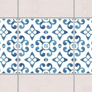 Fliesen Bordüre - Blau Weiß Muster Serie No.5 1:1 Quadrat 20cm x 20cm - Fliesenaufkleber