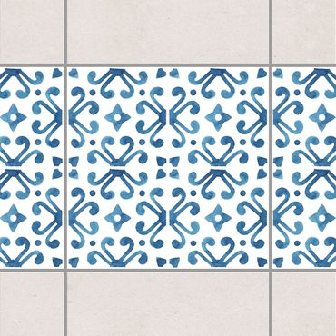 Fliesen Bordüre - Blau Weiß Muster Serie No.7 1:1 Quadrat 20cm x 20cm - Fliesenaufkleber