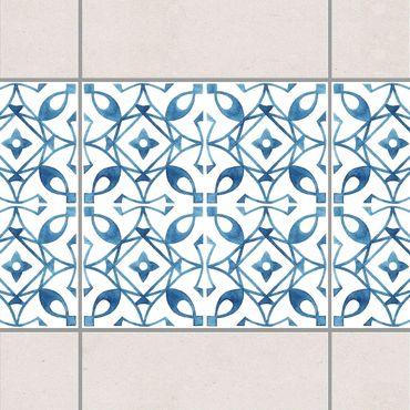 Fliesen Bordüre - Blau Weiß Muster Serie No.8 1:1 Quadrat 20cm x 20cm - Fliesenaufkleber