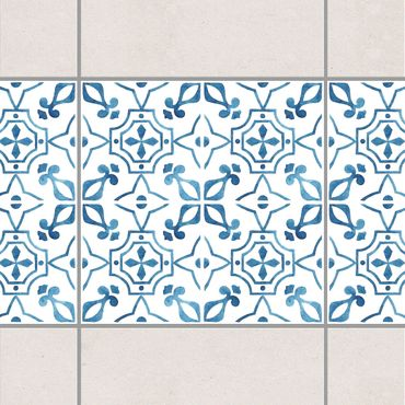Fliesen Bordüre - Blau Weiß Muster Serie No.9 1:1 Quadrat 20cm x 20cm - Fliesenaufkleber
