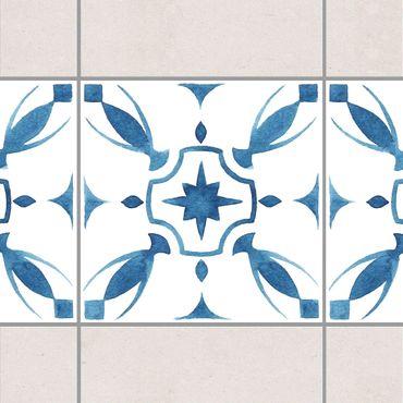 Fliesen Bordüre - Muster Blau Weiß Serie No.1 1:1 Quadrat 20cm x 20cm - Fliesenaufkleber