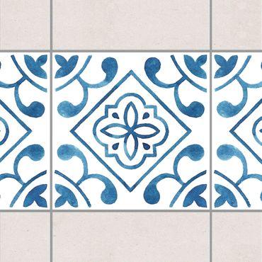 Fliesen Bordüre - Muster Blau Weiß Serie No.2 1:1 Quadrat 20cm x 20cm - Fliesenaufkleber