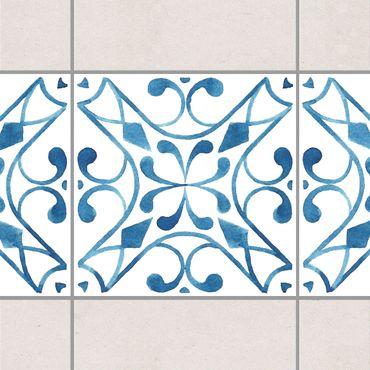 Fliesen Bordüre - Muster Blau Weiß Serie No.3 1:1 Quadrat 20cm x 20cm - Fliesenaufkleber