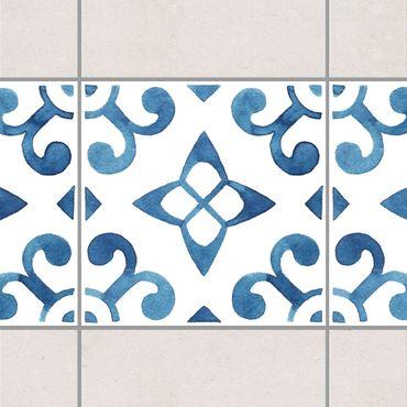 Fliesen Bordüre - Muster Blau Weiß Serie No.5 1:1 Quadrat 20cm x 20cm - Fliesenaufkleber