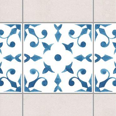 Fliesen Bordüre - Muster Blau Weiß Serie No.6 1:1 Quadrat 20cm x 20cm - Fliesenaufkleber