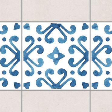Fliesen Bordüre - Muster Blau Weiß Serie No.7 1:1 Quadrat 20cm x 20cm - Fliesenaufkleber