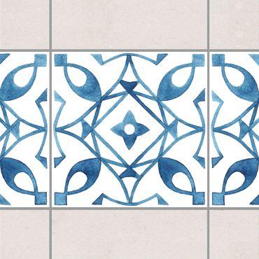 Fliesen Bordüre - Muster Blau Weiß Serie No.8 1:1 Quadrat 20cm x 20cm - Fliesenaufkleber