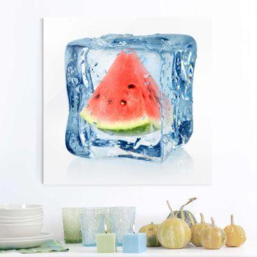 Glasbild - Melone im Eiswürfel - Quadrat 1:1