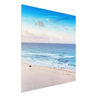 Glasbild - Cancun Ozean Sonnenuntergang - Quadrat 1:1