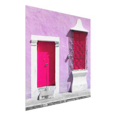 Glasbild - Rosa Fassade Pinke Tür - Quadrat 1:1
