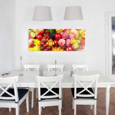 Glasbild - Colourful Exotic Fruits - Panorama Quer