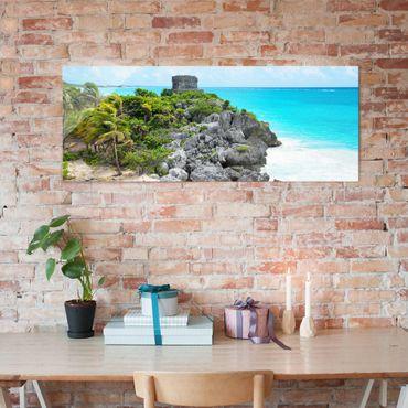 Glasbild - Karibikküste Tulum Ruinen - Panorama Quer