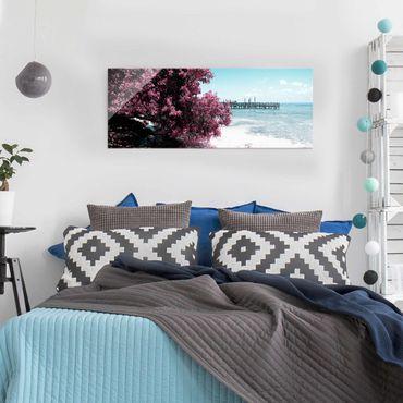 Glasbild - Paradies Strand Isla Mujeres - Panorama Quer