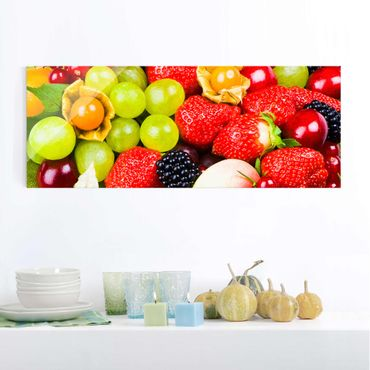 Glasbild - Tropical Fruits - Panorama Quer