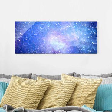 Glasbild - Sternbild Himmelkarte - Panorama Quer
