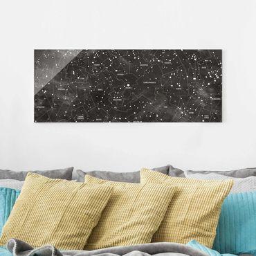 Glasbild - Sternbild Karte Tafeloptik - Panorama Quer