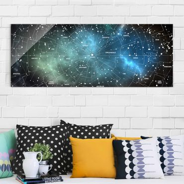 Glasbild - Sternbilder Karte Galaxienebel - Panorama Quer