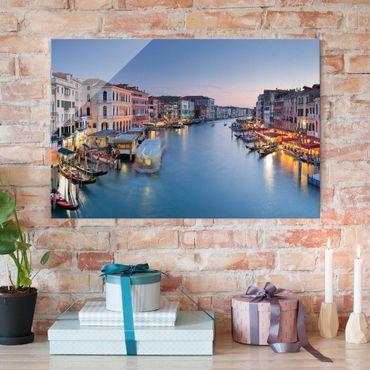 Glasbild - Abendstimmung auf Canal Grande in Venedig - Quer 3:2