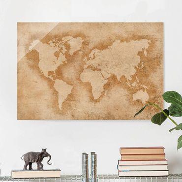 Glasbild - Antike Weltkarte - Quer 3:2