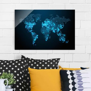 Glasbild - Connected World Weltkarte - Quer 3:2