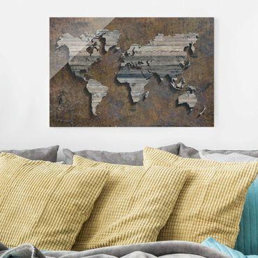 Glasbild - Holz Rost Weltkarte - Quer 3:2