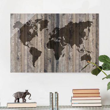 Glasbild - Holz Weltkarte - Quer 3:2