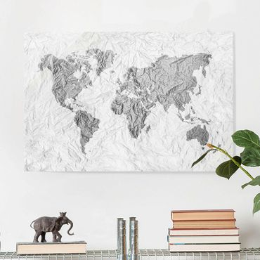 Glasbild - Papier Weltkarte Weiß Grau - Quer 3:2
