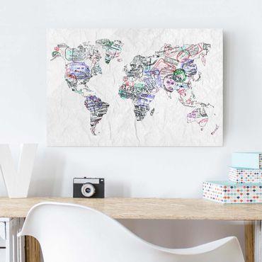 Glasbild - Reisepass Stempel Weltkarte - Quer 3:2