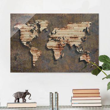 Glasbild - Rost Weltkarte - Quer 3:2