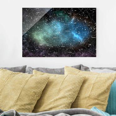Glasbild - Sternbilder Karte Galaxienebel - Quer 3:2