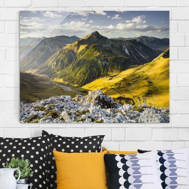 Glasbild - Berge und Tal der Lechtaler Alpen in Tirol - Quer 4:3