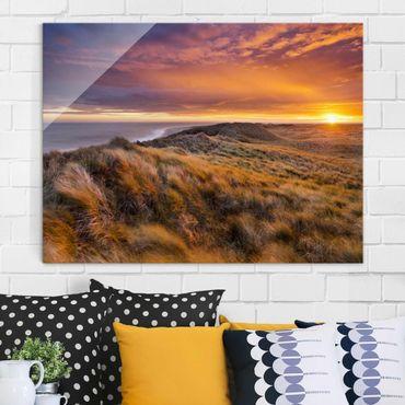 Glasbild - Sonnenaufgang am Strand auf Sylt - Quer 4:3
