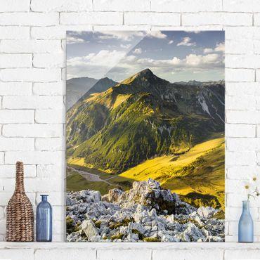 Glasbild - Berge und Tal der Lechtaler Alpen in Tirol - Hoch 3:4