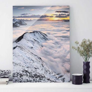 Glasbild - Blick über Wolken und Berge - Hoch 3:4